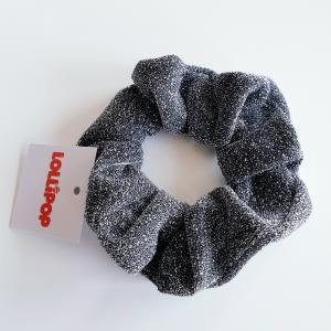 Hårsnodd scrunchie med glitter, grå
