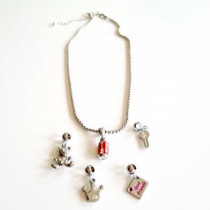 Halsband silverfärgad ärtkedja 42 cm
