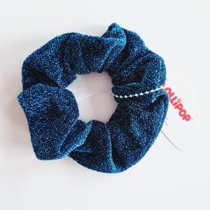 Hårsnodd scrunchie med glitter, jeansblå